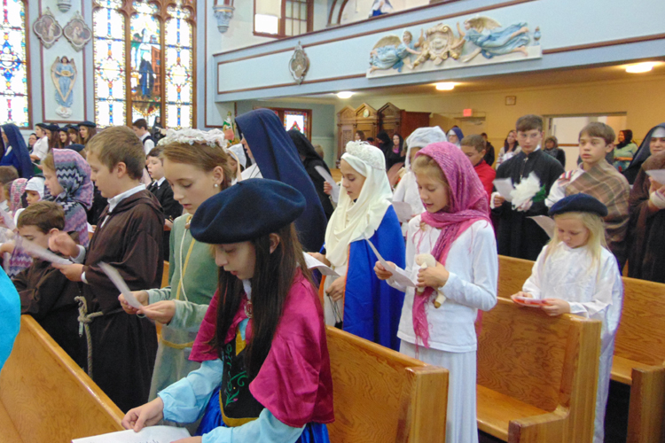 Children dressed as saints on All Saints Day